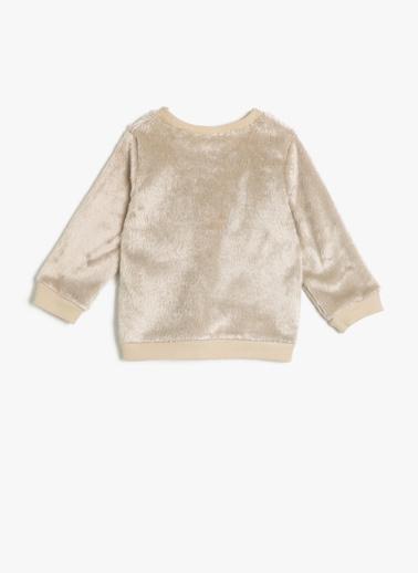 Koton Kids Baskılı Peluş Sweatshirt Ekru